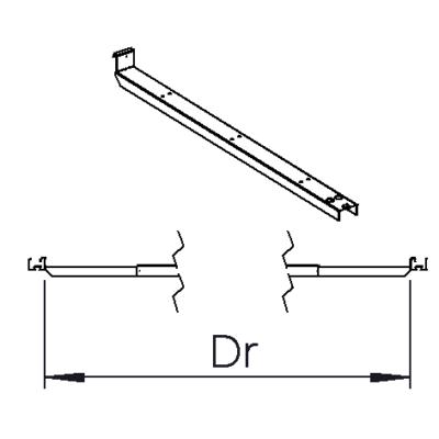 Rail bracket Dr= 2900mm-3600mm (2700mm body); 1800mm-2350mm (1500mm body); 3250mm-3600mm (1500mm body)