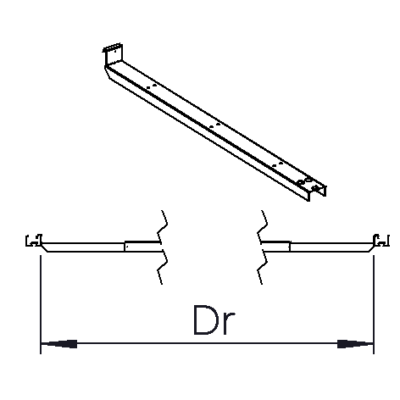 Rail bracket Dr= 3000mm-3600mm (2370mm); 2200mm-2400mm (1200mm)