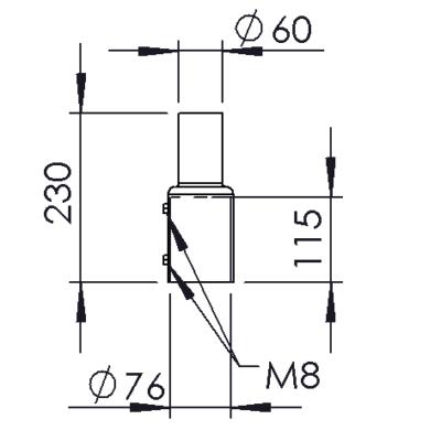 Pole adapter diam 76 mm -> 60 mm