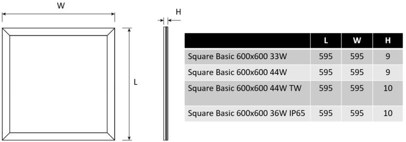 Square Basic dimensions